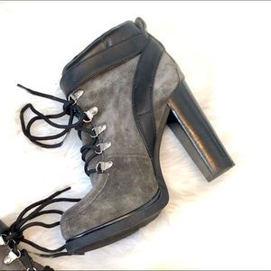 Nine West Smokino Lace up Buckle Gray Green Bootie